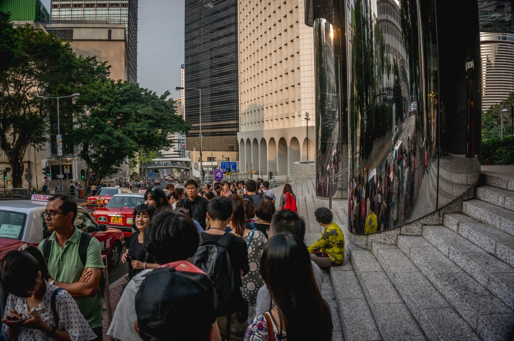 The long line for the Peak Tower tram