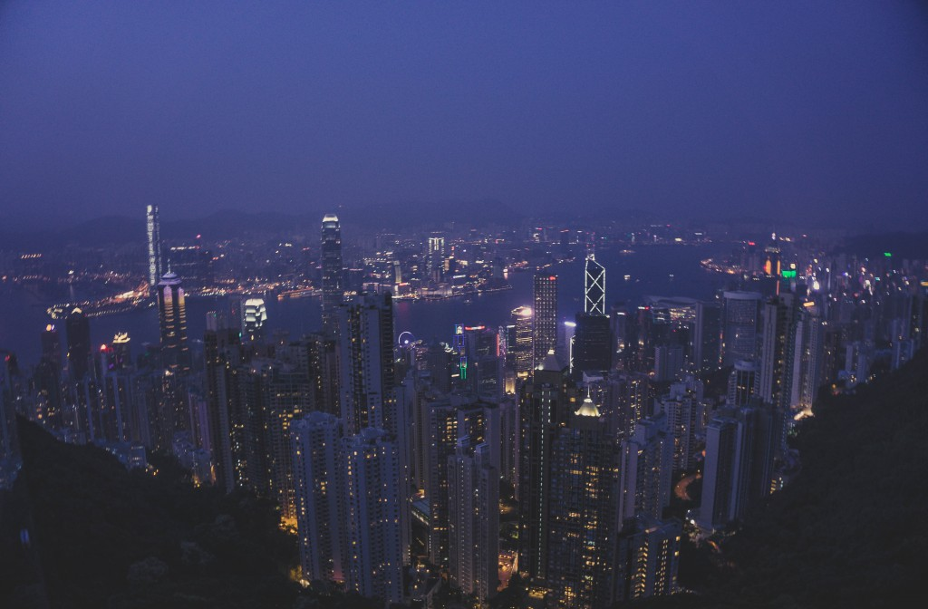 Nightfall on Hong Kong from Victoria Peak. Amazing.